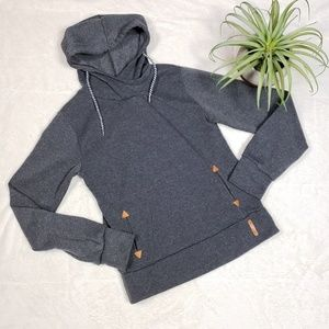 Tops - Gray Hoodie with tan faux leather accents